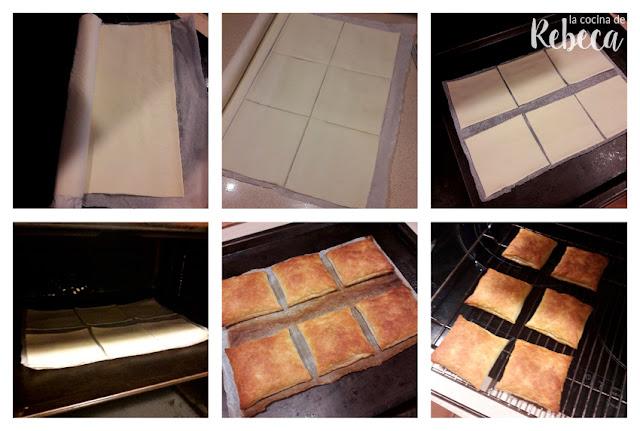 Receta de pasteles de hojaldre y crema (miguelitos): corte y horneado