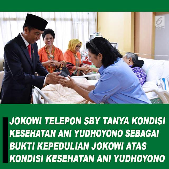 Jokowi Telepon SBY Tanya Kondisi Kesehatan Ani Yudhoyono