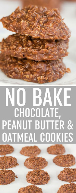 NO BAKE CHOCOLATE, PEANUT BUTTER & OATMEAL COOKIES