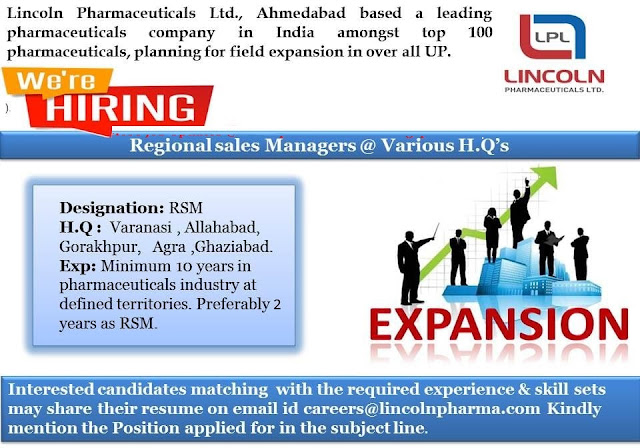 Lincoln Pharmaceuticals Ltd Urgently Hiring Regional Sales Managers (RSM)