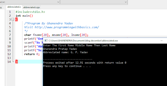 C Program to Convert a person's name in Abbreviated