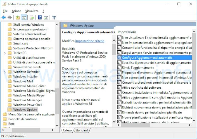 Editor criteri di gruppo locali Configura aggiornamenti automatici