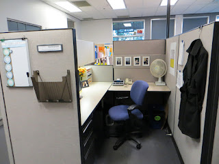 cool office cubicle decoration mixed with blue swivel chair feats corner table fan and skylights