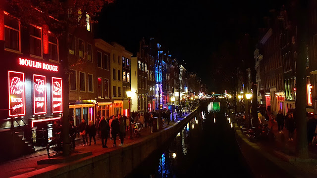 Red Light District with the canal in middle of the streets