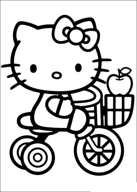 Tranh tô màu mèo hello kitty đi xe đạp