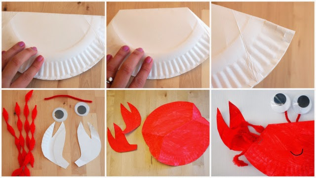 rocking paper plate crab craft