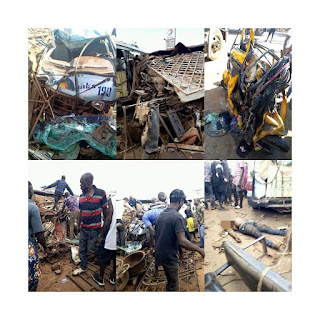 BREAKING: Many feared dead as trailer crushes bus, tricycles in Onitisha