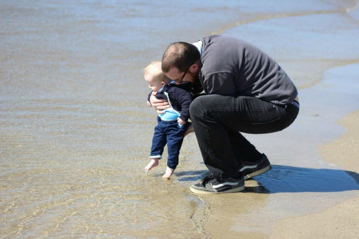 The first time Squidge dipped his toes in the ocean