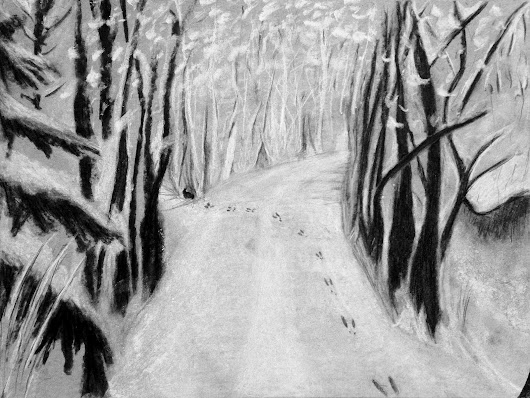 "High School Art: Charcoal Drawings Inspired by Robert Frost ""Stopping by Woods on a Snowy Evening"""