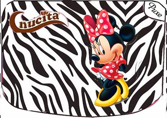 Etiqueta Nucita para Imprimir Gratis de Minnie Cebra y Rojo.