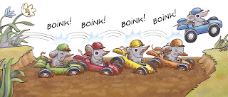 Image of four mice racecars stuck in a muddy ditch.  A fifth mouse in a blue racecar skips over them to a grassy bank.