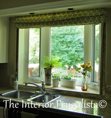 DIY Roman Shade for Kitchen Bay Window Open