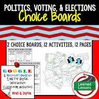 Civics and Government Digital Learning Choice Boards, Google Lessons, Politics, Voting, Elections