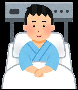 いろいろな表情の入院中の人のイラスト(男性・笑顔)