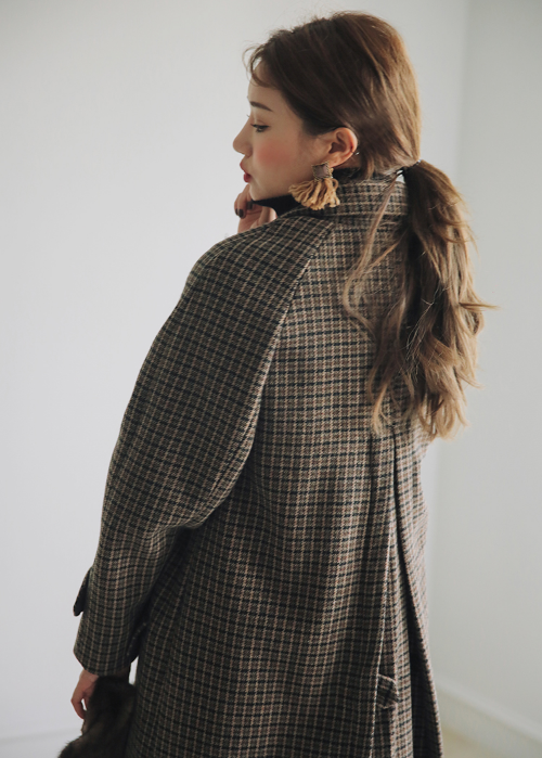 Check Print Concealed Button Coat