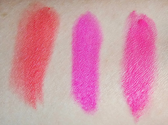 Makeup Revolution Amazing Lipstick in Flashing, Mystify, Crime Swatches