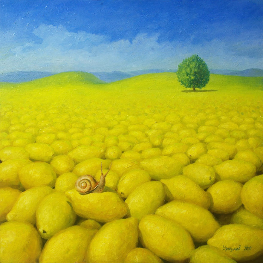 08-Lemon-World-Vitaly-Urzhumov-Surreal-Paintings-of-the-World-of-Lemons-and-More-www-designstack-co