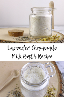 This lavender chamomile diy milk bath is great for dry skin.  It has bath ingredients to soothe irritated and dry skin.  This milk bath diy is easy to make.  Milk baths are great for dry skin.  Learn how to milk bath with this easy recipe.  Homemade milk bath with just a few ingredients.  This milk bath recipe has dried chamomile and dried lavender.  #mlkbath #lavender #chamomile #dryskin #diybeauty #diy #herbal #herbalbeauty