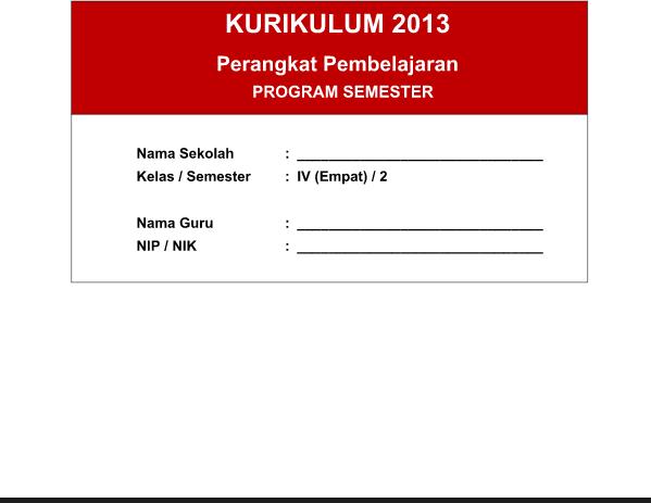 Program Semester SD Kelas 4 Mapel PJOK Kurikulum 2013 Semester 2 Revisi Tahun 2016