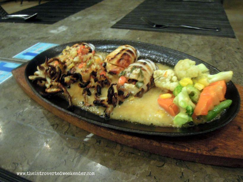 Sizzling squid at Azure Restaurant of Ocean Suites Boutique Hotel Bohol