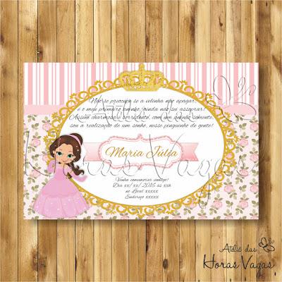 convite digital aniversário infantil personalizado princesa jardim encantado floral delicado rosa e dourado coroa reino 1 aninho menina festa