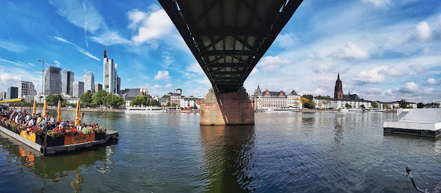 Iron bridge over the main river in Frankfurt