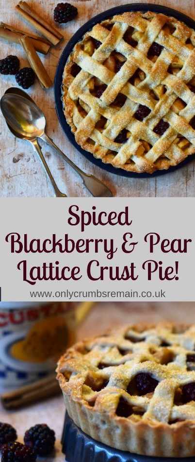 How to make a lattice crust pie filled with lightly spiced autumn fruit of blackberries, pears and apples.