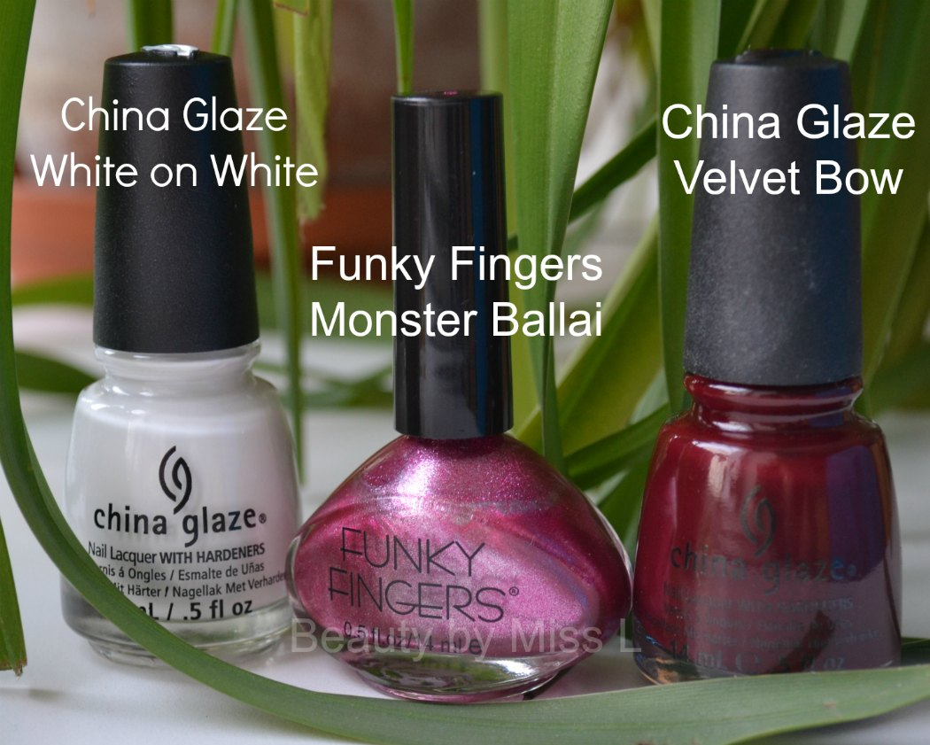 China Glaze White on White, Funky Fingers Monster Ballai, China Glaze Velvet Bow,