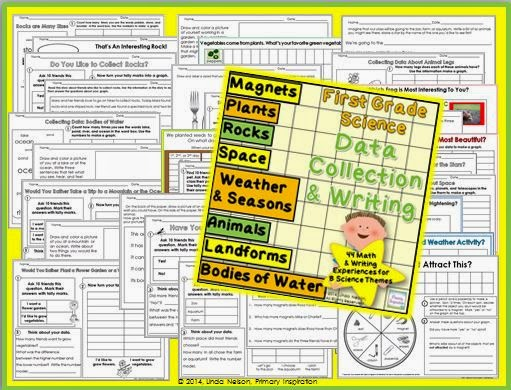 http://www.teacherspayteachers.com/Product/First-Grade-Science-Data-Collection-and-Writing-for-8-Science-Themes-1279232