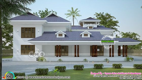 Typical Kerala house rendering with dormer windows
