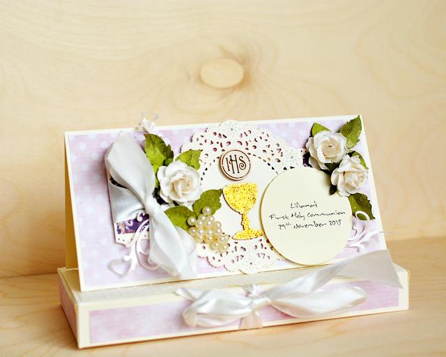 card in box, handmade card, kartka komunijna, pamiatka 1 komunii świętej