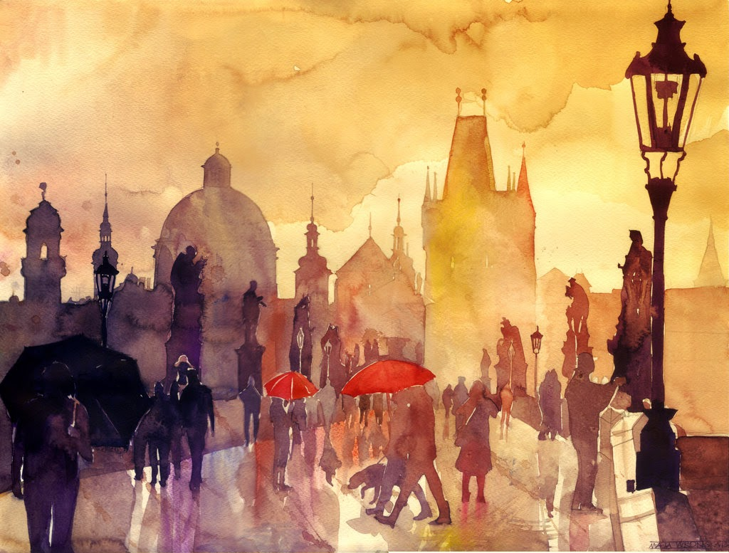 06-Charles-Bridge-Maja-Wronska-Travels-Architecture-Paintings-www-designstack-co
