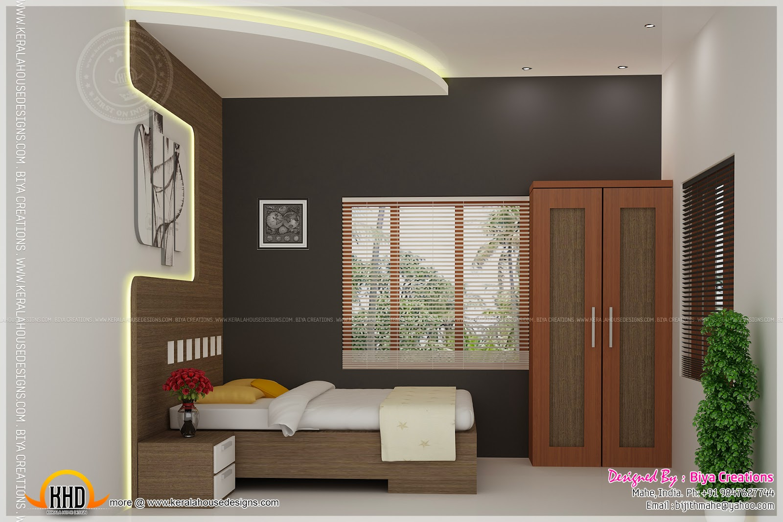 Bedroom kid bedroom and kitchen interior kerala home for Indian small house design 2 bedroom