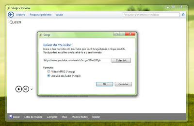 Tela da opção para baixar o áudio de um vídeo do Youtube para mp3