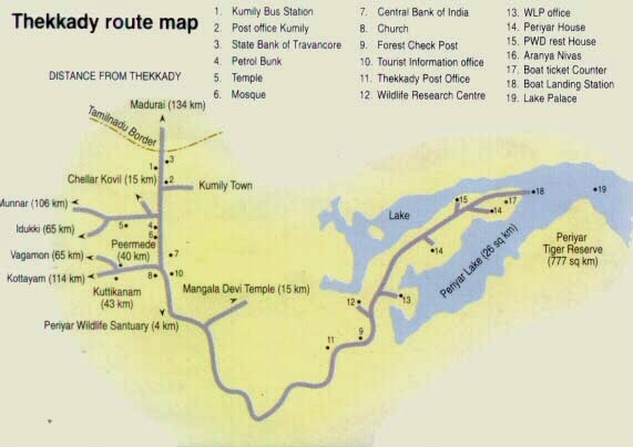 thekkady tourism map, map of thekkady, periyar tourism map