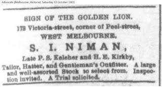 S I Niman, Melbourne, Australia 1901