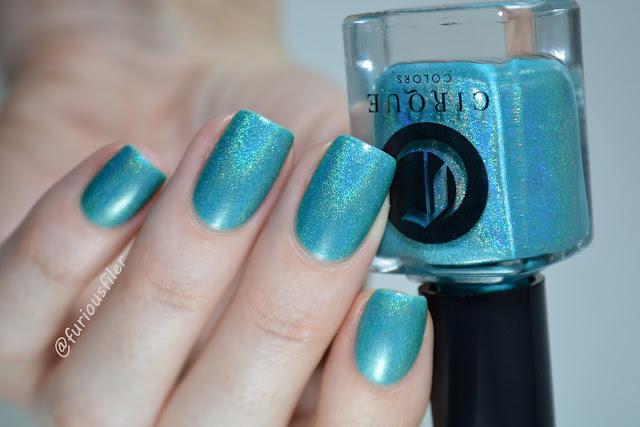indie polish cirque cerrillios swatch turquoise holo