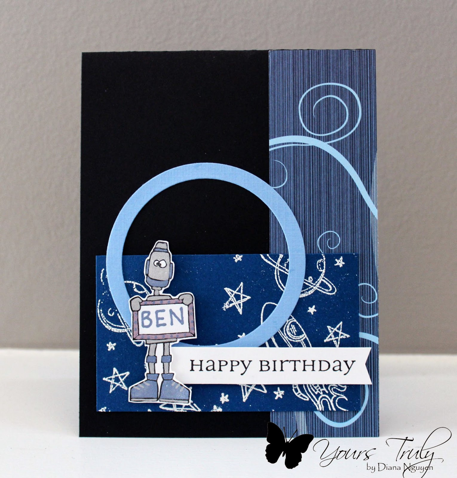 Diana Nguyen, boy birthday card, Stamping Bella, robot card