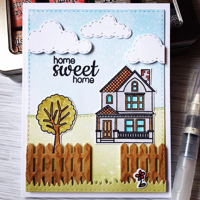 Sunny Studio: Happy Home Sweet Home Card by Anastasiya Sokolova