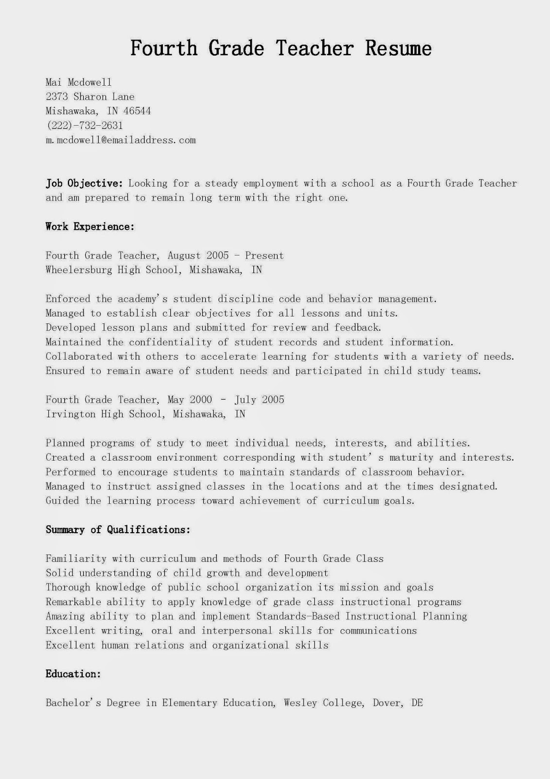 Resume Samples Fourth Grade Teacher Resume Sample