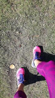 Gazon, parc, jambes de coureuse, espadrilles de course New Balance