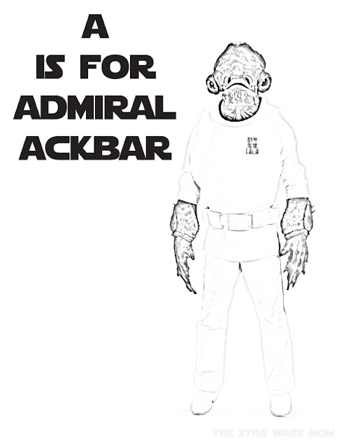 Free Star Wars Alphabet Coloring Pages - A is for Admiral Ackbar