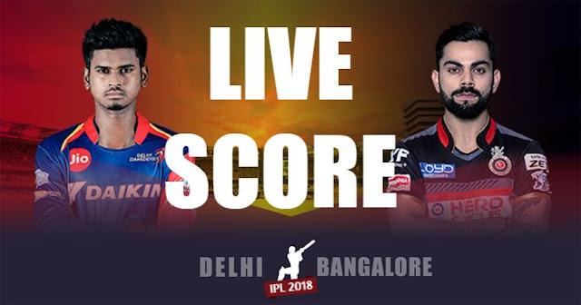 IPL 2018 Match 45 DD vs RCB Live Score and Full Scorecard