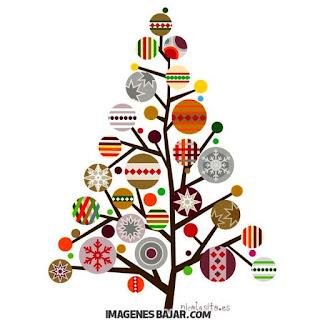 Bella ilustración de árbol navideño Dibujo en colores con adornos para tarjeta