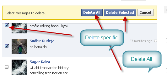 how to get delete message in facebook