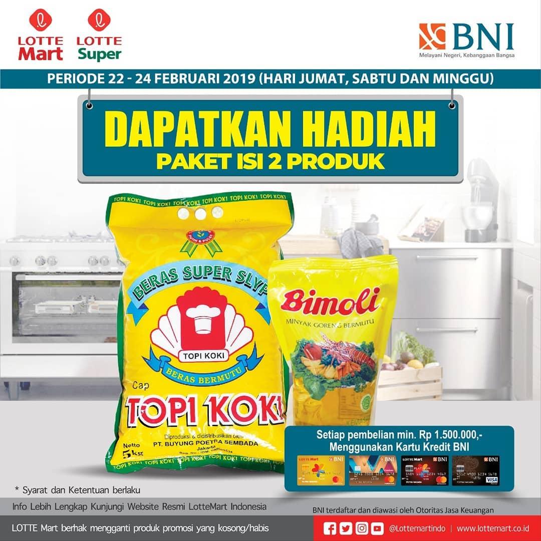 #LotteMart #LotteSuper - #Promo Hadiah Paket 2 Produk Belanja Min 1,5 Jt Pakai CC BNI (s.d 24 Fenb 2018)