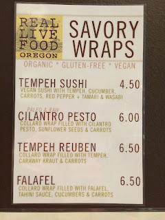 Raw food menu at Townshend's Teahouse in Eugene, Oregon