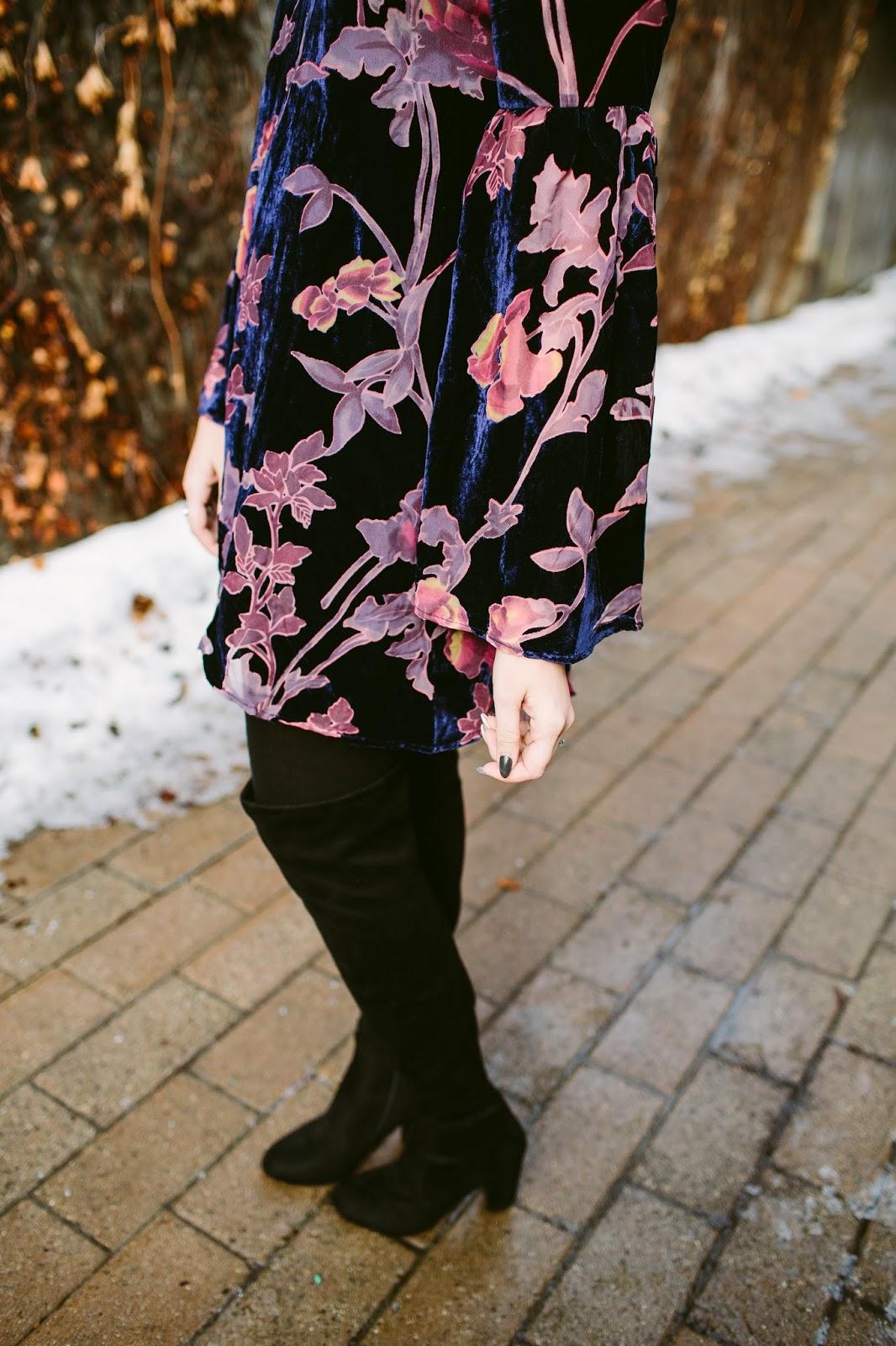 Velvet, floral, Dress details