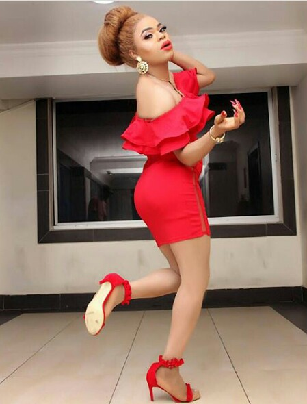 Bobrisky looks red hot in curve-hugging dress