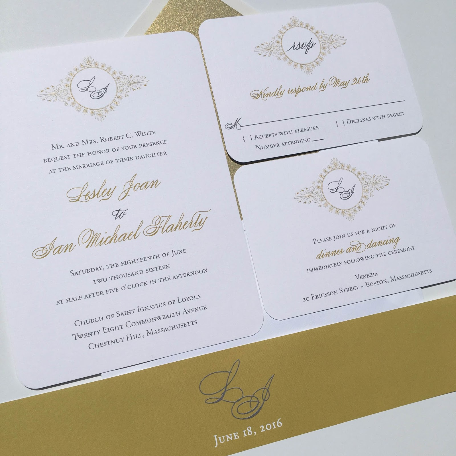 Gold And Gray Wedding Invitations
